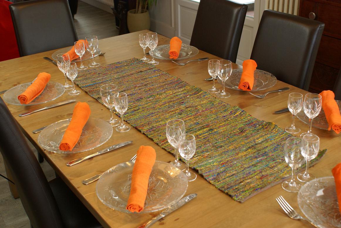 Chemin de table en soie cama eu orange - Chemin de table orange ...